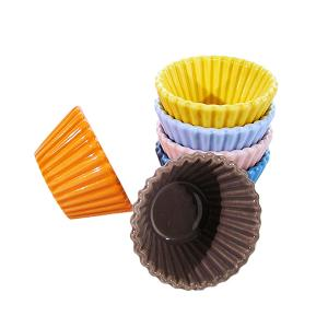 SET 6 pz. MINI CUP CAKES PORCELLANA diam.4,7 H3 MIGNON MULTICOLOR